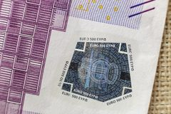 Money, busyness and finances concept. Detail part of five hundred banknote euro national currency bill. Symbol of wealth and. Prosperity stock image