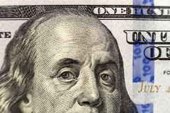 Money, busyness and finances concept. One hundred dollar bill detail with president Franklin portrait close-up. American national. Currency banknote. Symbol of stock image