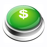 Money Button. Glossy 3D stop button in brushed metal frame Stock Image
