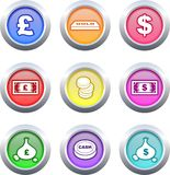 Money buttons. Collection of colourful money buttons isolated on white Royalty Free Stock Images
