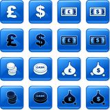 Money buttons. Collection of blue square money rollover buttons Stock Image