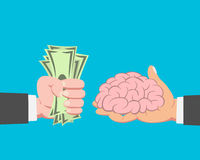 Money buying Brain. Hand of businessman with money buying Brain from another businessman on blue background vector Royalty Free Stock Images