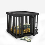 Money in cage. Isolated on a white background Royalty Free Stock Photo