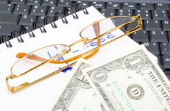 Money Calculations. Counting some money - economics background - close up Royalty Free Stock Image