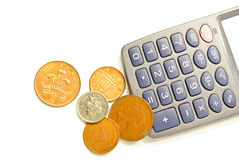 Money and calculator. Calculator and money on white background Stock Photography
