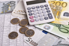 Money and calculator Royalty Free Stock Photography
