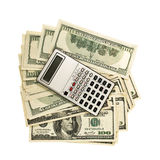 Money and calculator. Background from dollars and calculator Royalty Free Stock Image