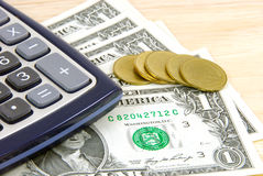 Money and calculator. Stock Photography