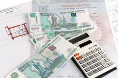 Money, calculator, certificate, and plan. On white background Stock Photos