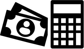 Money and calculator icon. Vector Royalty Free Stock Photos