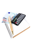 Money, calculator  and  notebook with a pen Stock Photos