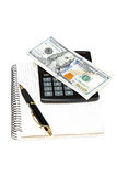Money, calculator, notepad and pen. Royalty Free Stock Photography