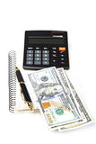 Money, calculator, notepad and pen. Royalty Free Stock Photos