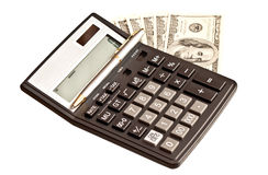 Money and calculator over white Royalty Free Stock Photo