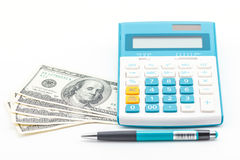Money, calculator and pen. Royalty Free Stock Photography