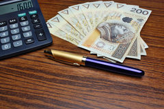 Money calculator pen Stock Photos