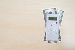 Money, calculator, pencil and blank notebook on wood background, Stock Photos