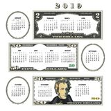 2019 money calendar, ideal for any business. royalty free illustration