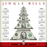 2014 money calendar. Illustration of 2014 jingle bills calendar with dollar bills in shape of Christmas tree vector illustration