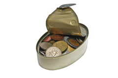 Money in a can. Discovery of long term contribution Royalty Free Stock Images