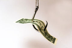 Money. Can be the bait on the hook Royalty Free Stock Photos