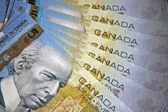 Money of Canada. Fan from denominations of the Canadian money Royalty Free Stock Image