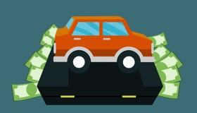 Money for car - bag. Target saving money for buy car ,car on bag Stock Photography
