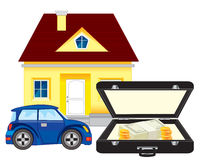 Money and car with house. On white background is insulated Royalty Free Stock Photos