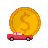Money and car icon. Flat design money and car  icon vector illustration Stock Photography