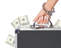 Money, case of dollars bills in female hand with handcuffs, isolated. On white. concert Stock Photo
