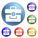 Money case icons set vector royalty free illustration