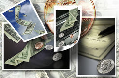 Money cash banking. Several images depicting money and banking Stock Photos