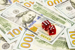 Money cash banknotes and dices Stock Photo