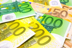 Money in cash. Bankroll in Euros in full frame,  photography Stock Images