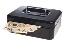 Money in cash box Royalty Free Stock Images