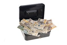 Money in cash box Royalty Free Stock Photo