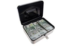 Money in cash box Stock Photo