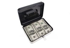 Money in cash box Royalty Free Stock Photos