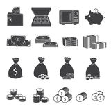 Money Cash and Coin Icons Collection Royalty Free Stock Photos