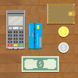 Money cash and credit card. Silver and golden coin with wallet. Vector illustration Stock Images