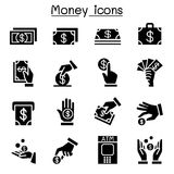 Money, Cash, Currency, Coin icon set flat style. Vector illustration graphic design Stock Images