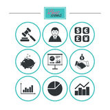 Money, cash and finance icons. Handshake sign. Royalty Free Stock Photo