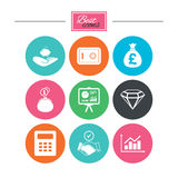 Money, cash and finance icons. Handshake sign. Royalty Free Stock Images