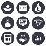 Money, cash and finance icons. Handshake sign. Money, cash and finance icons. Handshake, safe and calculator signs. Chart, safe and jewelry symbols. Gray flat Stock Photography