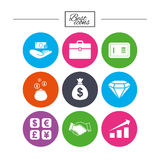 Money, cash and finance icons. Handshake sign. Royalty Free Stock Photography