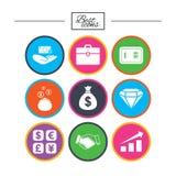 Money, cash and finance icons. Handshake sign. Stock Photo