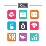 Money, cash and finance icons. Handshake sign. Money, cash and finance icons. Handshake, safe and currency exchange signs. Chart, case and jewelry symbols Royalty Free Stock Image