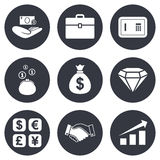 Money, cash and finance icons. Handshake sign. Money, cash and finance icons. Handshake, safe and currency exchange signs. Chart, case and jewelry symbols. Gray Royalty Free Stock Images