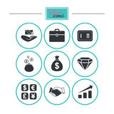 Money, cash and finance icons. Handshake sign. Stock Photography