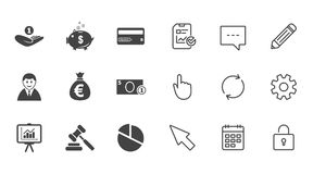 Money, cash and finance icons. Piggy bank sign. Money, cash and finance icons. Piggy bank, credit card and auction signs. Presentation, pie chart and Royalty Free Stock Image
